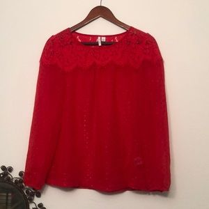 ELLE Red Sheer Lace and Polk A Dot Blouse